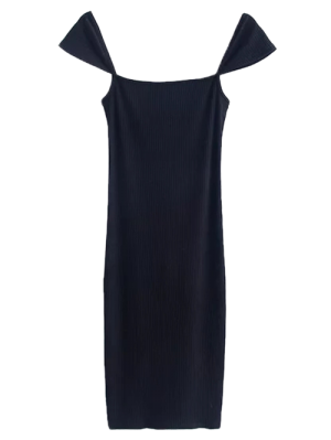 Low Back Ribbed Cap Sleeve Pencil Dress - Black