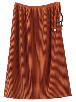 Pleated Tied Skirt - Brown