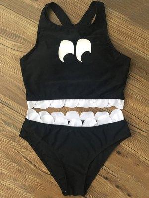 Printed Scalloped Cropped Bikini Set - Black