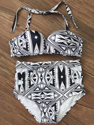 Empuje Hacia Arriba Geométrica De Talle Alto Bikini Set - Negro