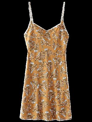 Tiny Floral Slip Dress - Yellow Ocher