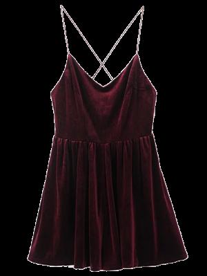 Low Back Slip Velvet Skirted Romper - Wine Red