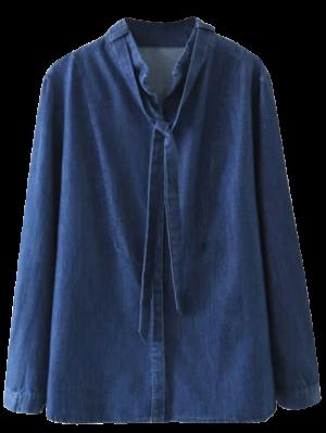 Tie Neck Denim Blouse - Denim Blue