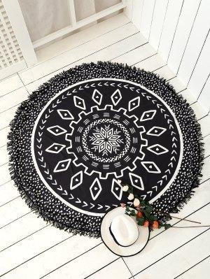 serviette de tapis de plage à motifs mandala avec franges