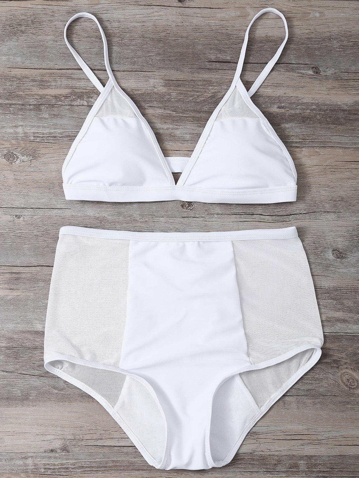 Sheer Low Cut High Waist Bikini Set