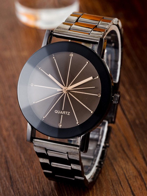 Rhinestone Ray Pattern Conical Surface Quartz Watch