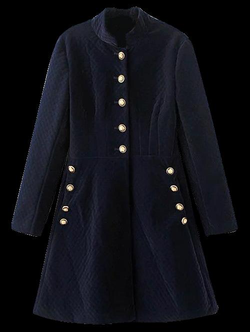 Vintage Single-Breasted Long Sleeve Dress