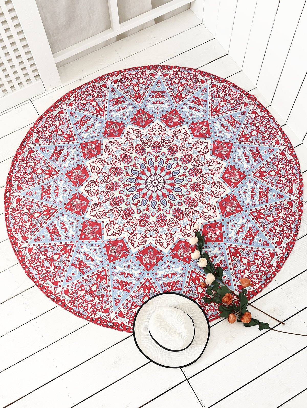 plage jet serviette tapis rond avec franges motifs style mandala indien couleur rouge zaful. Black Bedroom Furniture Sets. Home Design Ideas