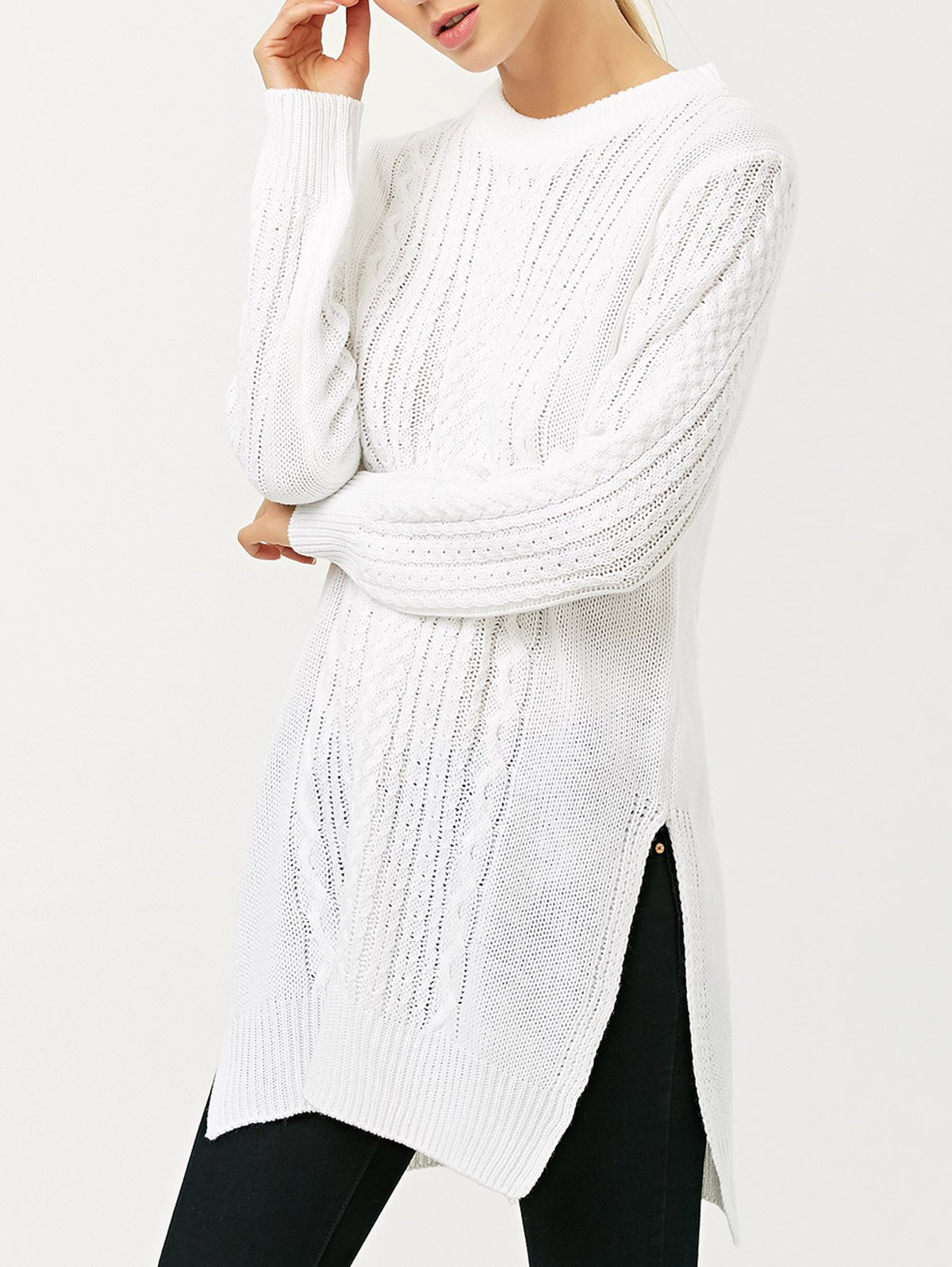Cable Knit Side Slit JumperClothes<br><br><br>Size: L<br>Color: WHITE