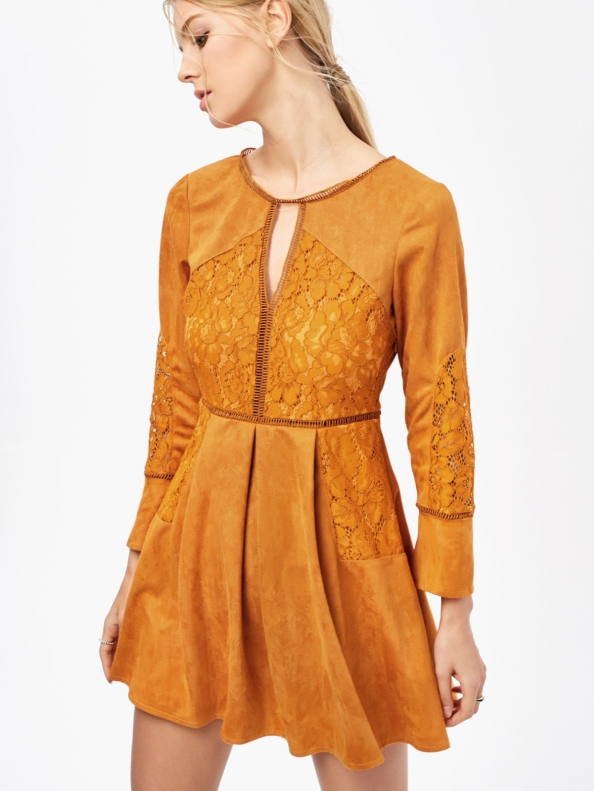 Lace Insert Cut Out Long Sleeve DressClothes<br><br><br>Size: M<br>Color: GINGER