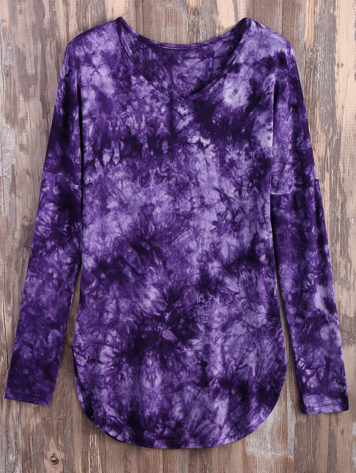 Tie Dyed Long Sleeves TeeClothes<br><br><br>Size: XL<br>Color: PURPLE