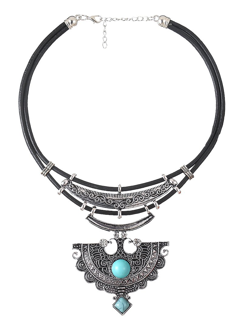 Faux Leather Turquoise Geometric NecklaceAccessories<br><br><br>Color: CYAN