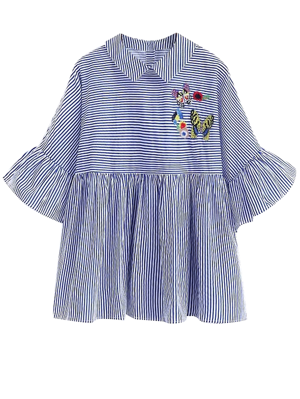 Striped Embroidered Smock Blouse