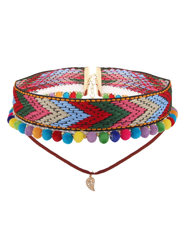 Colorful Crochet Leaf Arrow Choker Necklace