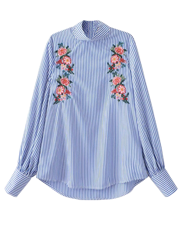 Stand Neck Floral Embroidered Striped Blouse