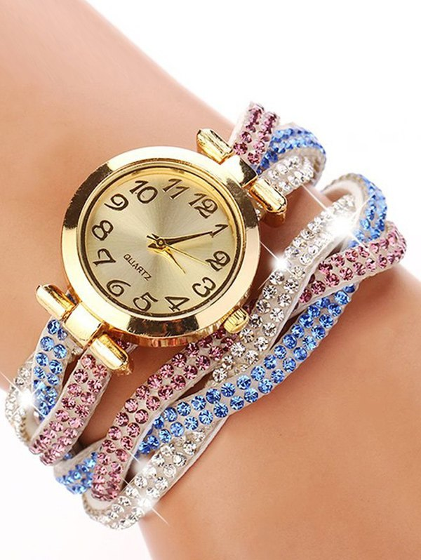 Rhinestone Studded Wrap Bracelet WatchAccessories<br><br><br>Color: WHITE