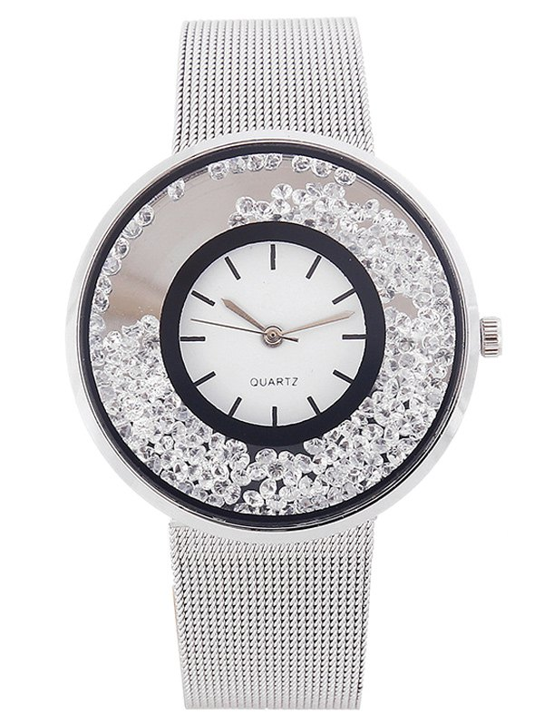 Metal Mesh Band Rhinestone Quartz Watch