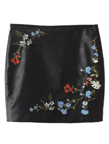 Faux Leather Floral Embroidered Skirt