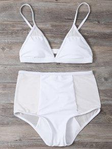 Low Cut High Waist Sheer Bikini Swimsuit - White