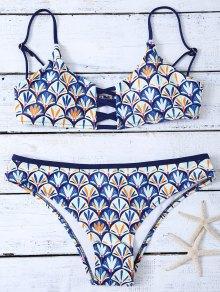 Criss Cross Cami Fish Scales Bikini Set - Blue L