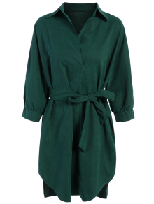 Tie Belt Midi Shirt Dress - Deep Green M