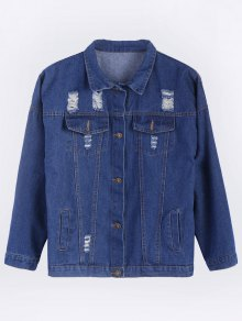 Frayed Pockets Denim Shirt Jacket
