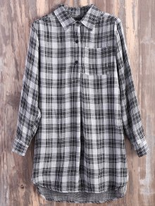 Pocket Plaid Flannel Shirt Dress - Grey And White Xl