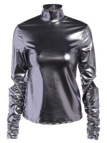 High Collar Metallic Color Top
