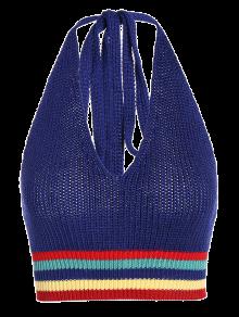 Knitting Striped Crop Top - Blue
