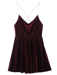 Low Back Slip Velvet Skirted Romper - Wine Red