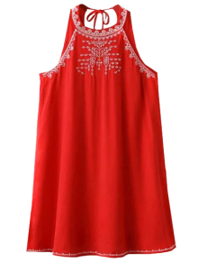 Sleeveless Cut Back Embroidered Dress - Red M