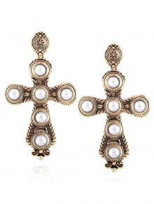 Cross Faux Pearl Drop Earrings