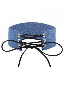 Adjustable Bowknot Denim Choker Necklace