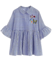 Embroidered Striped Smock Blouse