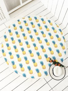 Pineapple Print Tassels Beach Throw - White