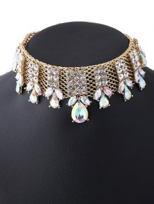 Water Drop Rhinestoned Chain Choker - Champagne