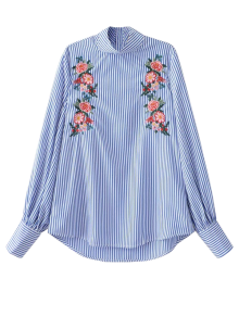 Floral Embroidered Striped Blouse - Stripe