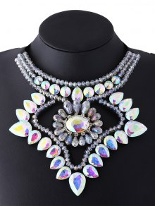 Faux Gem Ribbon Water Drop Necklace