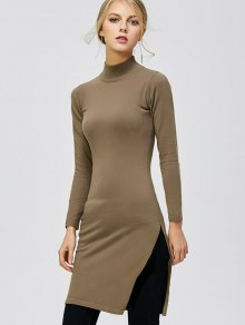 Mock Neck Side Slit Pullover Sweater