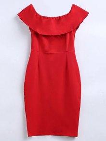 Off The Shoulder Ruffle Slit Work Dress - Red M