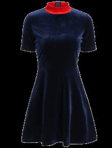 Fitting Velvet Swing Dress - Cadetblue S