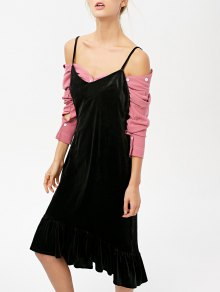 Frilled Velvet Cami Dress