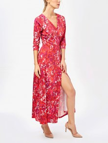 Printed High Slit Wrap Maxi Dress - Red M