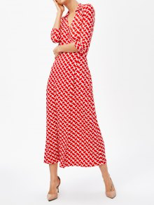 High Slit V Neck Retro Print Maxi Dress - Red L