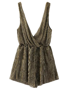 Low Cut Sleeveless Romper - Bronze