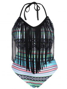 Tribal Print Plus Size Fringe Swimwear