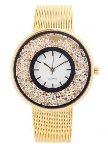 Metal Mesh Rhinestone Quartz Watch - Golden