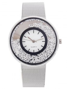 Metal Mesh Rhinestone Quartz Watch