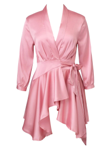 Satin Wrap Robe Tea Dress - Pink L