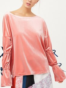 Boat Neck Split Sleeve Velvet Top